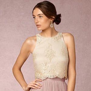 Donna Morgan Cream Lace Crop Top